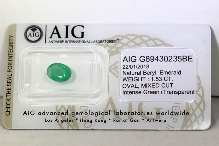 Emerald - 1.53 ct - Intense Green - * NO RESERVE PRICE *