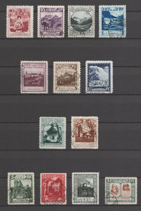 Liechtenstein 1930 - Selection with Landscapes and Royal Couple - Michel 94A, 96A, 98A, 99A, 104A, 105A, 106A, 100C, 101C, 95B, 97B, 103B, 107B