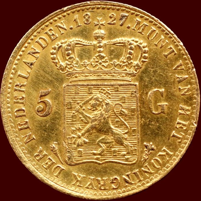 The Netherlands - 5 Guilder coin 1827 Utrecht Willem I - gold