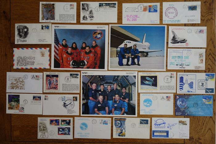 Space conquest - NASA 3 signed photos + lot of FDC (20 first day envelopes)