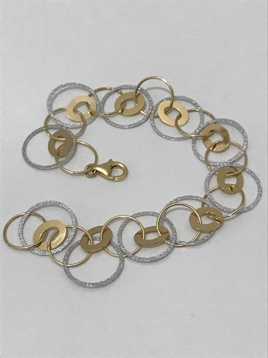 Bracelet in 18 kt white and yellow gold, 18.80 cm, 8.90 g