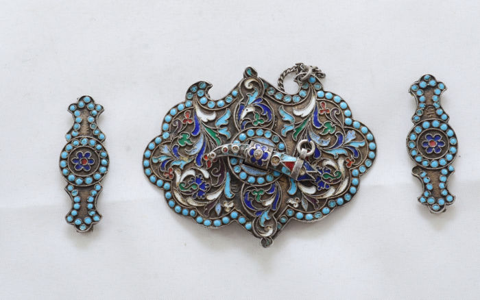 Belt buckle clasp - for groom's belt - 84 silver - enamel - filigree - Russia - 1896-1908