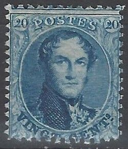 Belgium - OBP no. 15A 20C blue Leopold I type 'Perforated Medallions' perforation 12½ x 13½