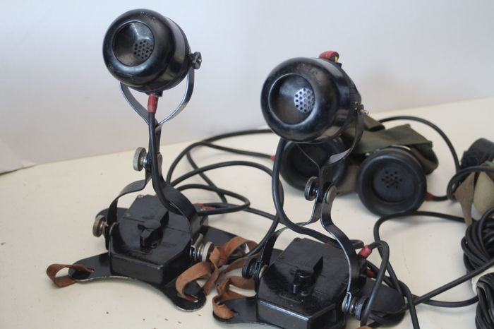 Set of 2 RAF WWII chest microphones with headphones - TMC A.P. 1191