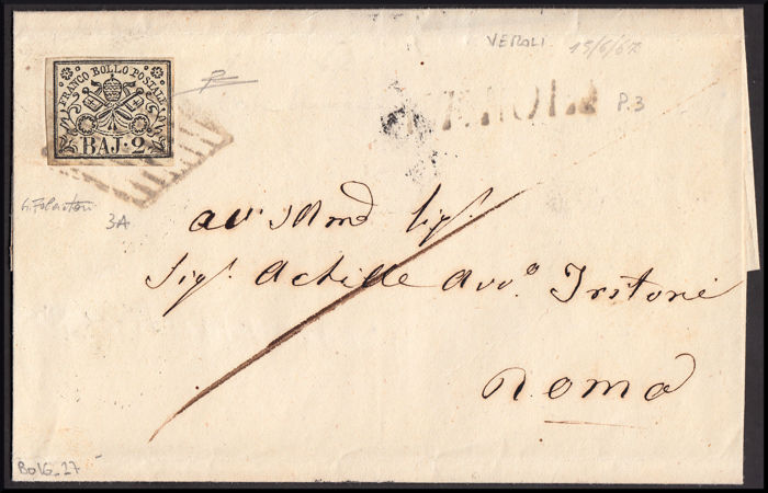 Papal State 1852/1869 - Lot of seven postage combinations of the Papal State, with a variety of tariffs and a pair of high value cancellation postmarks