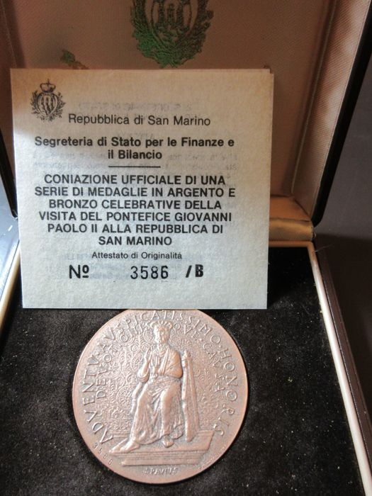 1983 - San Marino medal, visit to Pope Giovanni Paolo II