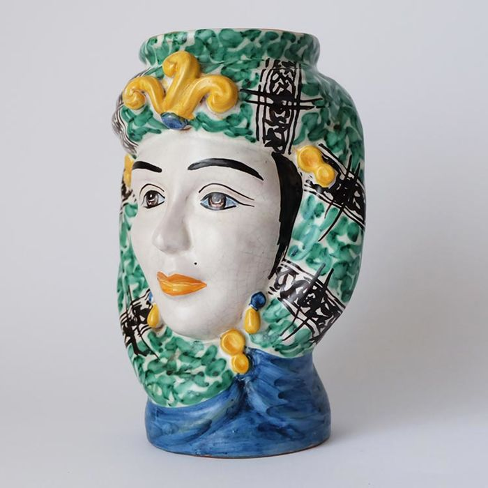 Caltagirone - vintage ceramic head vase