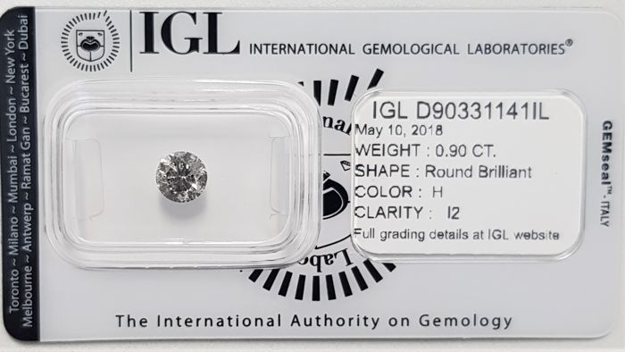 0.90 ct - Natural White Diamond - H Color - I2 - EX/EX/EX - No Reserve!