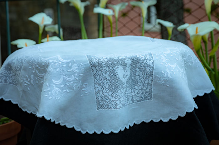 Very Old Hand Embroidered Tablecloth