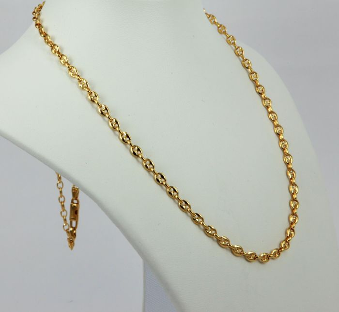 Marine link necklace, made in Italy by the brand 'Fratelli Chini' in 18 kt (750) yellow gold - Weight 19.8 g - Length 60 cm