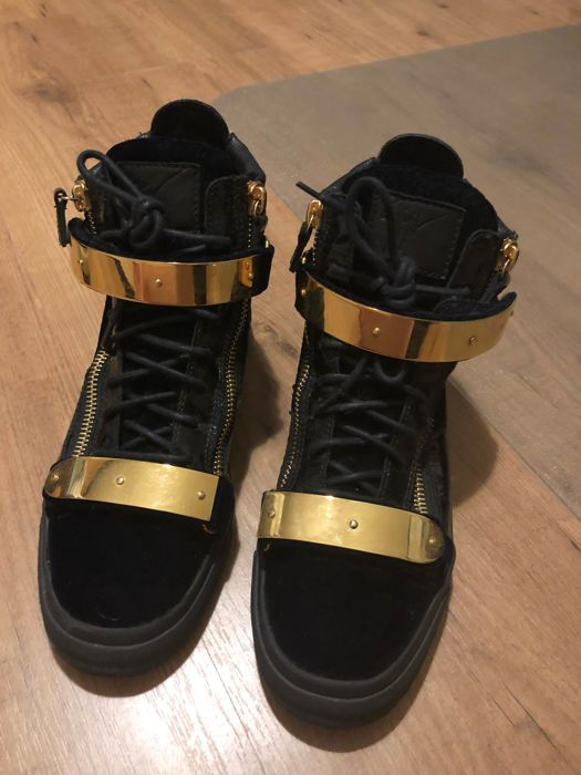 Giuseppe Zanotti Velvet And leather High-Top sneakers gold