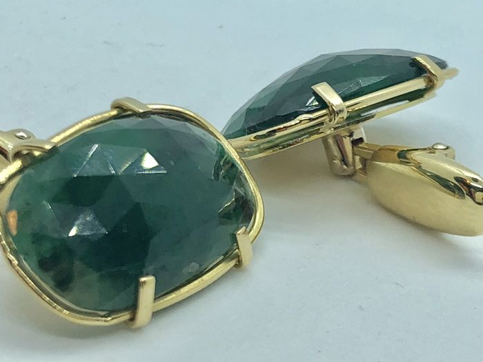 Gold cufflinks (18 kt) with large emeralds (12.4 ct)