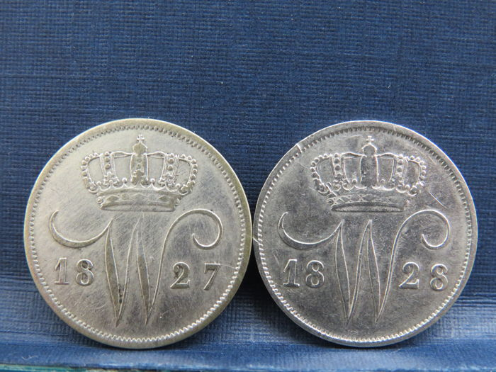 The Netherlands – 10 cent 1827U and 1828U Willem I - silver