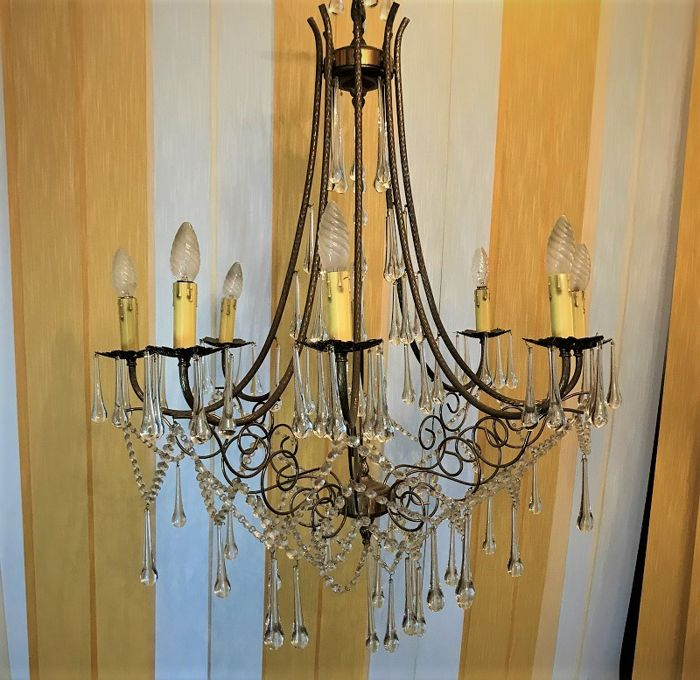 Burnished brass 8-light chandelier - 1950s