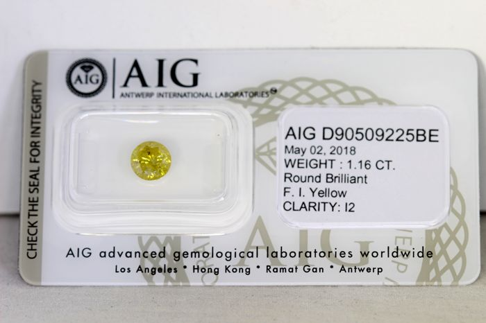 AIG Diamant - 1.16 ct - Fancy Intense Yellow - NO RESERVE PRICE