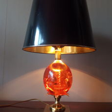 """Maker Unknown - """"Resin"""" lamp with black and gold lampshade"""