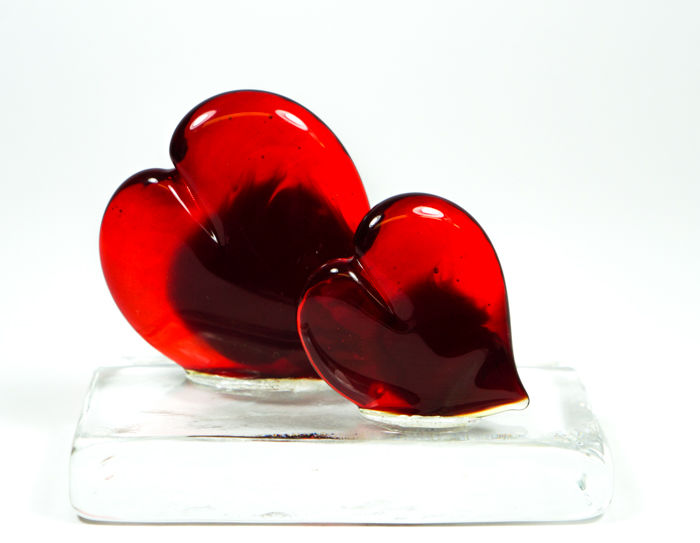 Thomas Apa (Murano) - 2 red hearts on a base