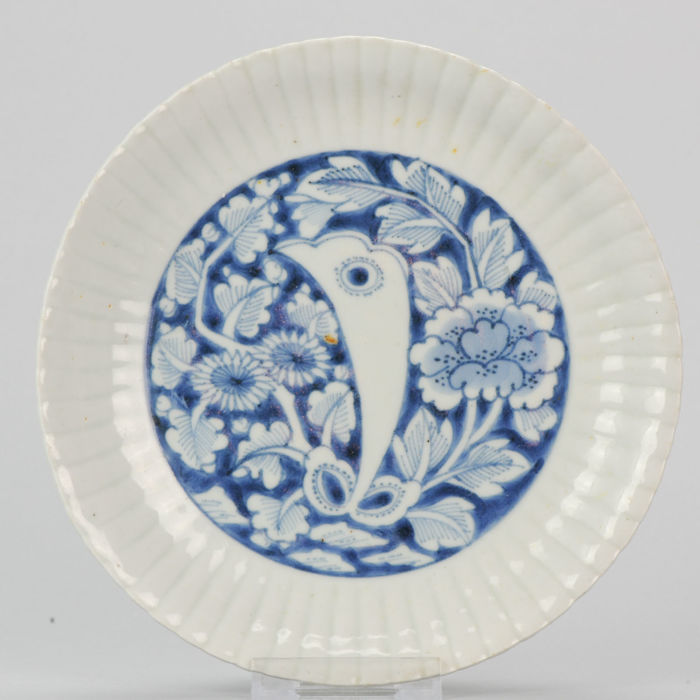Porcelain Kraak Transitional Dish Chinese with Flowers - China - Ca 1640