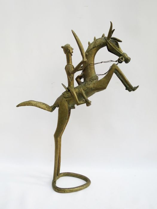 Sculpture - Arab with sword on Stallion - 20th century - Bronze alloy