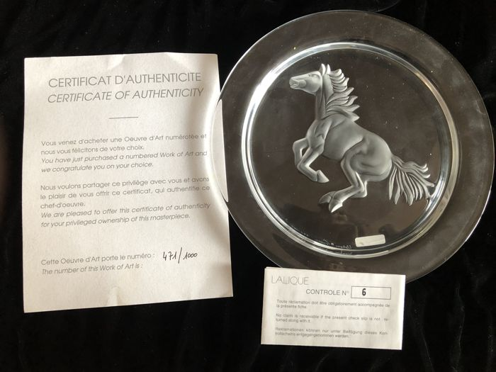 Lalique - Assiette Cheval numbered 471/1000