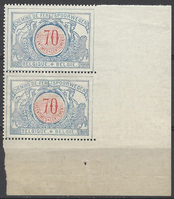 Belgium - Railway stamp OBP no. TR38 Cu - In pair and sheet corner with curiosity - IMPERFORATE between stamps and sheet margin