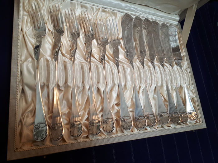 Krupp Berndorf Art - Fish cutlery set - 12 pieces - Forks and knives - Silver-plated alpaca