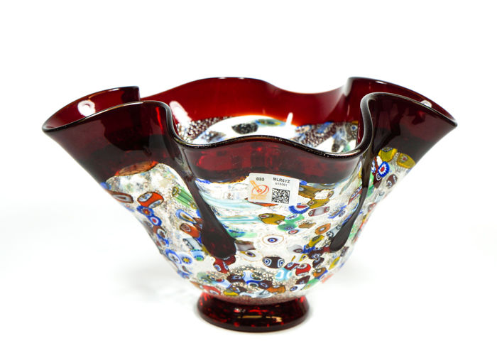 Imperio Rossi (Murano) - red centrepiece cup with murrina Millefiori