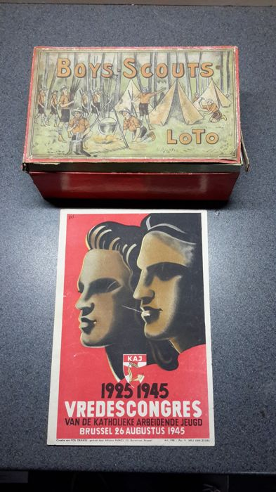 "Vintage ""boys scouts loto game"" + old flyer Kaj youth, 1940s"