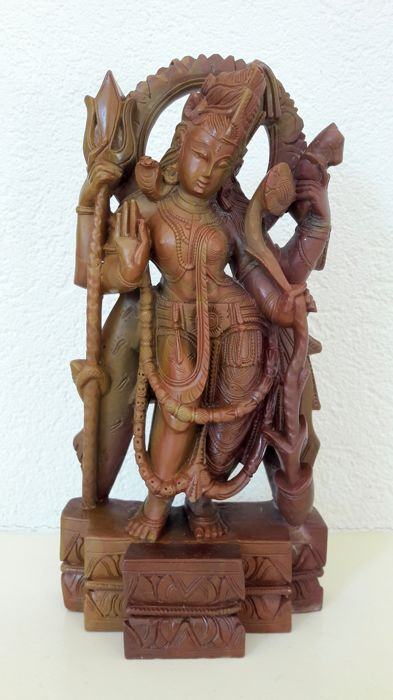Shiva, delicately carved stone sculpture - India - 2nd half 20th century