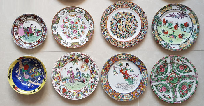 Plates (8) - Porcelain - China - Second half 20th century