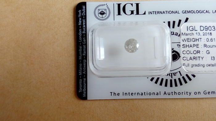 0.61ct. Round Brilliant Diamond (IDEAL CUT), G Colour, I3 clarity.