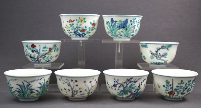 "Collection of ""month cups"", marked with a six-character mark - China - 21st century"