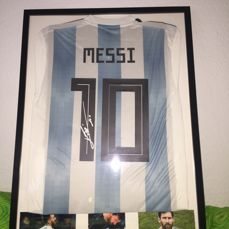 Framed 2018 Argentina shirt, hand-signed by the best footballer in history: Leo Messi 10