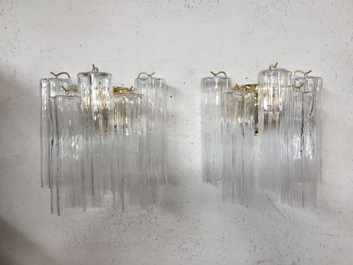 """Unknown designer - Pair of Twister (trunk style) tronchi """"Murano"""" glass wall sconces"""
