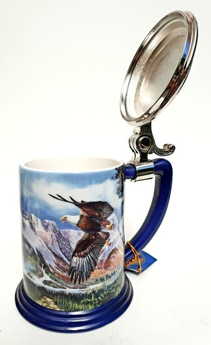 The Alaska Chilkat Bald Eagle Preserve & TFM presents - Eagle of The Last Frontier Collector Tankard by Ted Blaylock - Decorated with 24 carat gold