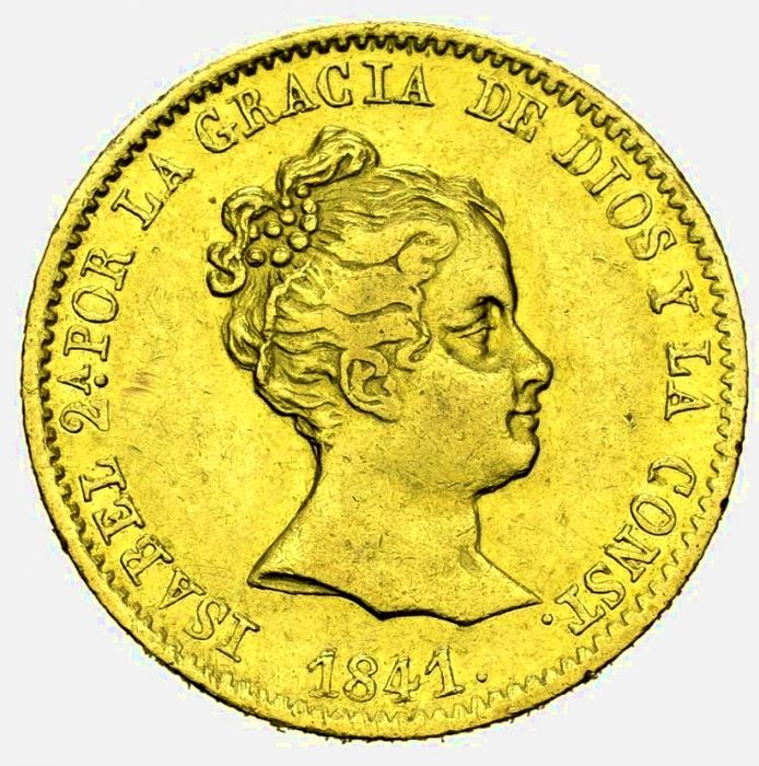 Spain - Isabel II. 80 Reales 1841 - Barcelona.  - Gold