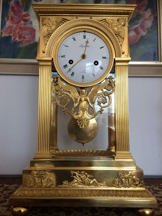 Fire-gilt Empire mantel clock 'cage' from circa 1807 - LEPAUTE a PARIS