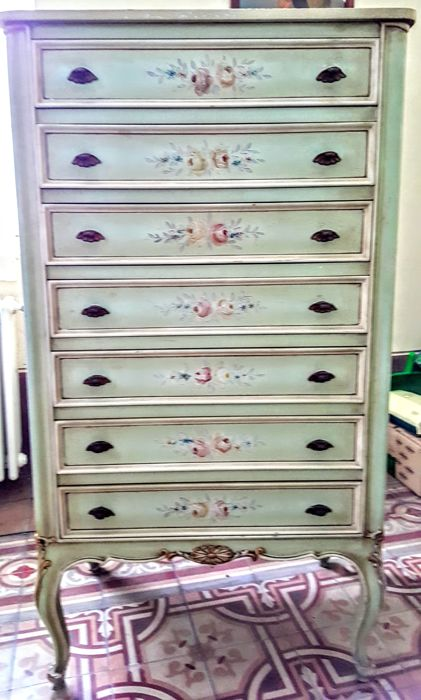 Charming decorated 7-drawer Chest - Monferrato, Italy, mid 20th century