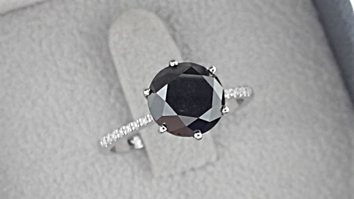 54e5e85bc9b68 3.40 TCW Round Black Diamond Engagement Ring in 14 kt White Gold *** NO  RESERVE PRICE *** - Catawiki