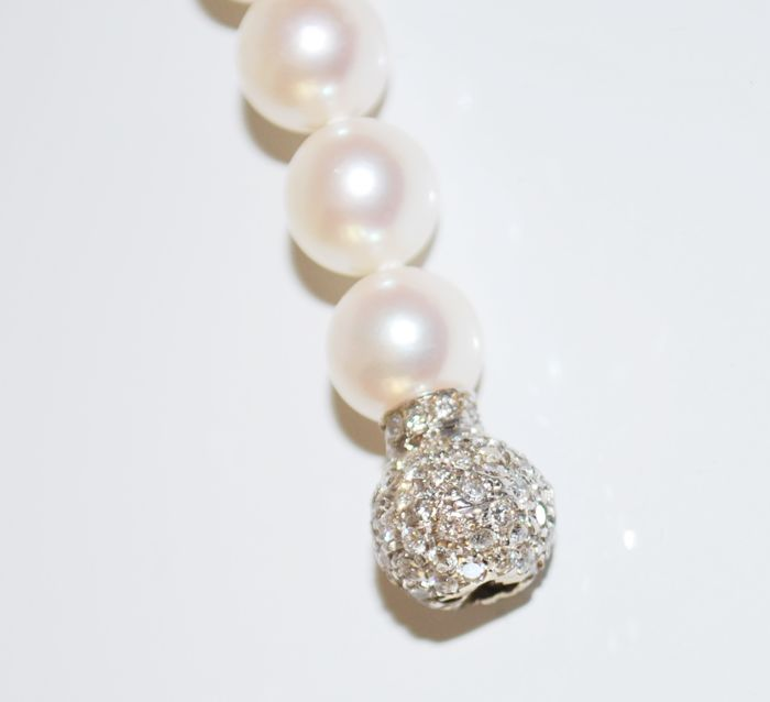 18 kt. Akoya pearls, White gold - Necklace