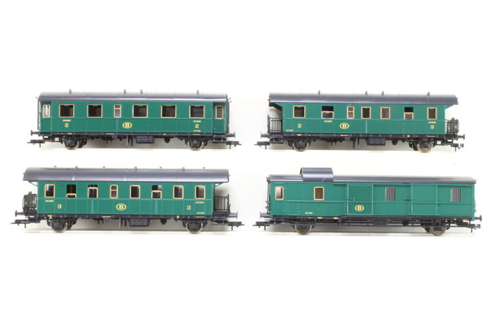 Fleischmann H0 - 507402K/507505K/507611/507707 - Freight carriage, Passenger carriage - 4 pieces - NMBS