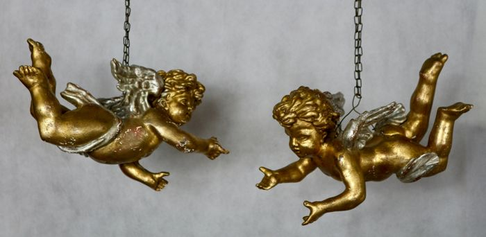 Pair of cherubs, winged angels in gold and silver leaf - Italy - early 1900s