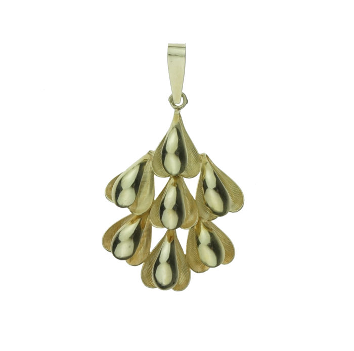 Large 14 kt gold modern designer pendant, measurements: 32 x 21 mm (measured without eyelet)