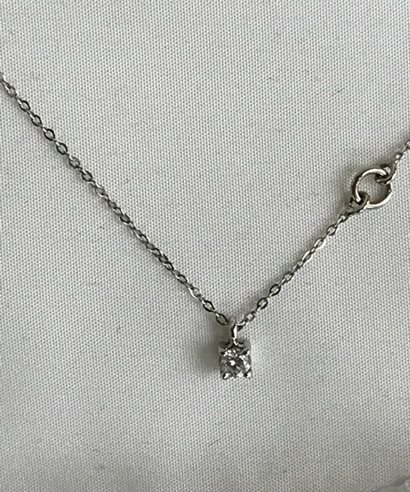 Salvini - Solitaire pendant with 0.10 ct diamond and adjustable chain necklace (40–46 cm length) - no reserve price