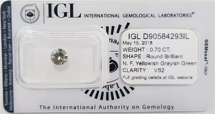 0.70 ct - Natural Fancy Diamond - Yellowish Grayish Green Color - VS2 - VG/VG/VG - No Reserve!