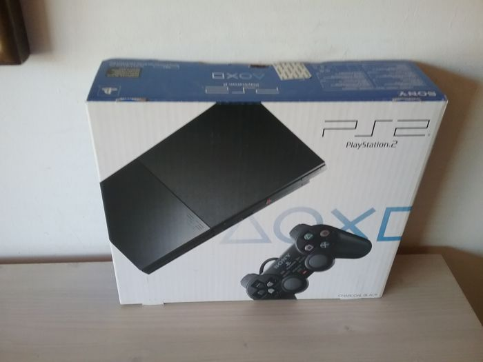 Complete PS2 Slim Console Charcoal Black: Model SCPH-90004 (New in Box)