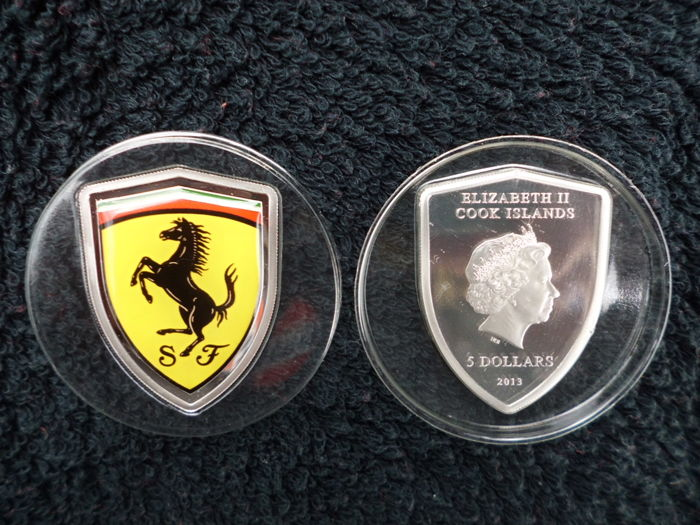 Ferrari, Cook islands $5 silver coin 2013 - Certificate individually numbered ! - 2013
