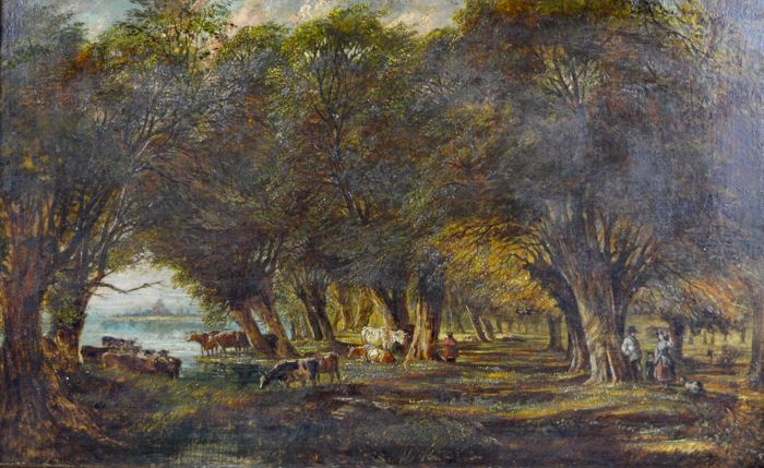 English school. (19th century) - Cattle in a woodland setting