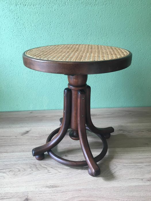 Piano stool in Thonet style with braided seat - 2nd half 20th century
