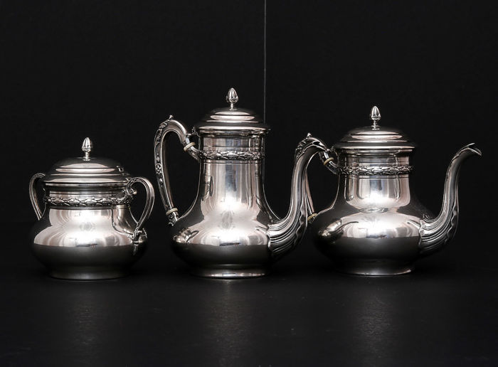 A 3 piece sterling silver coffee-tea service, Charles Barrier, France, circa 1905-1923